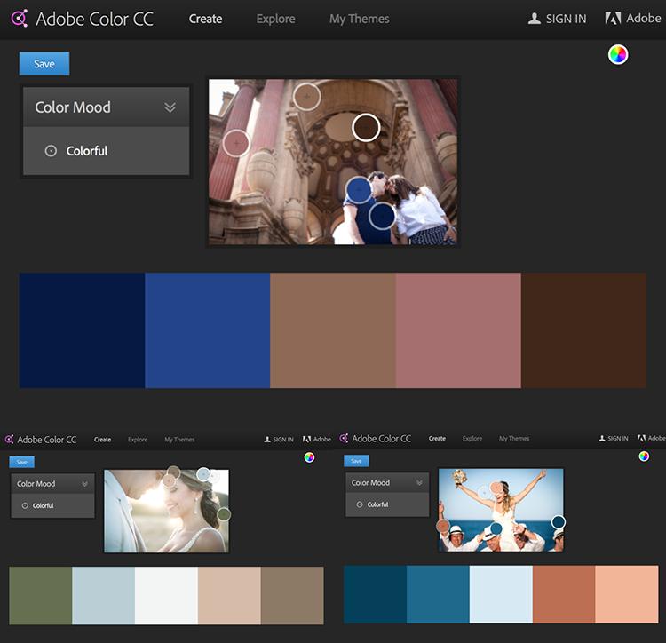 Quadro 3. Exemplos de paletas pelo site color.adobe.com. Fotos de Ana Correa.